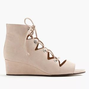 J Crew Laila Lace Up Wedge size 7.5